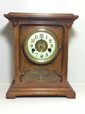 Hamburg German Clock Co art nouveau oak mantle clock