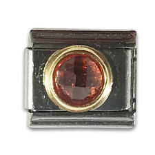 Authentic Zoppini Italian Charm - Orange Crystal / November Birthstone