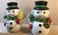 Vintage And Unique Christmas Snowmen With Ears Set Of 4 Ceramic Unbranded