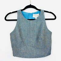 Keepsake The Label Womens Top Cropped Blue Tweed Size S