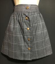 Comprobar gris cuadros Mini falda mujer señoras UK Size 8 10 botones de estado de cuenta