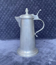 Vintage German? Pewter Flagon W/ Incised Bands Acorn Finial FBO Touchmark