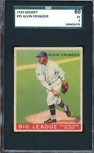 1933 Goudey #95 Alvin Crowder Washington Senators- Nice SGC 60 5 EX - Clean Card