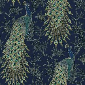 Rasch Tropical Peacock Wallpaper Botanical Floral Birds Jungle Teal Green