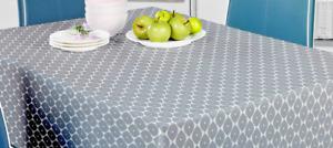 Silver Grey Geometric Abstract Leaf Plain PVC Plastic Vinyl Table Cloth Cover