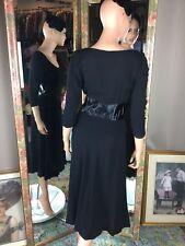 50s Designer Carlye Womens Black Vintage Crepe & Satin Slim Peplum Dress Sz 4