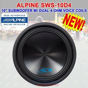 """ALPINE SWS-10D2 TYPE-S 10"""" SUBWOOFER WITH DUAL 2-ohm VOICE COILS 1,500 WATTS NEW"""
