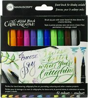 Pack 12 Aqua Brush Tip Pens Callicreative Colour Water Based Ink Manuscript 6690