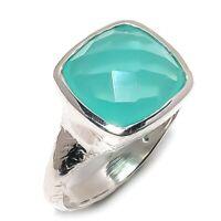 Aqua Chalcedony Natural Gemstone Handmade 925 Sterling Silver Ring Size 7 SR-276
