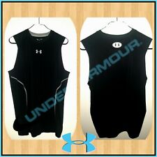 UNDER ARMOUR M Fitted Heatgear Tank Top Black Stretch Sleeveless Shirt Vneck EUC