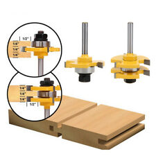 "2pcs Tongue & Groove Router Bit Set 3/4""Stock 1/4""Shank 3 Teeth T-shape Wood Kit"