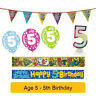 Age 5 - Happy 5th Birthday Party Balloons Banners & Decorations