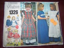 Vintage Little Vogue #1326 Dress and Pinafore Size 6x Complete and Uncut