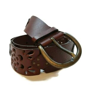 Ralph Lauren Womens Leather Belt Size L Maroon Floral Stamped Links Bohemian