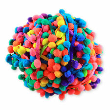 Colorido 1M 5mm Borla Pom Pom Bobble Trim trenza de Rainbow Flecos Cinta Craft