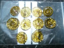 Lot de 10 Marguerites de lustre ancien en pâte de verre jaune 424001A