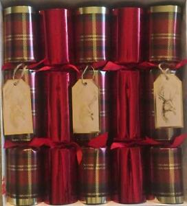 10 pk Luxury Hand crafted Crackers Red Christmas Crackers Christmas Decorations