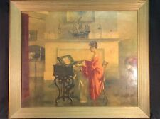 "A framed print entitled ""At The Melodeon"" by Marguerite S. Pearson"