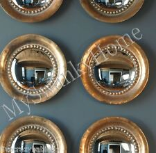 """Set of 2 OXIDIZED COPPER 17"""" Round Porthole Wall Mirrors PAIR Convex HORCHOW"""