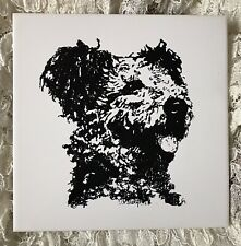 """More details for vintage hungarian pumi sheepdog  dog wall tile hanger plaque unused 7"""" sq approx"""
