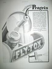 PUBLICITE DE PRESSE FLY-TOX INSECTICIDE PULVERISATEUR ILLUSTRATION EREL AD 1931