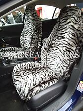 i - TO FIT A SUBARU WRX STI CAR, S/ COVERS, 2 FRONTS, SILVER TIGER FAUX FUR