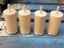 4 X Beech bun Feet with threads 12cm tall