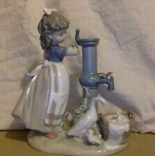 Vintage Lladro Figurine. Girl At A Water Pump. Needs Pump Repair