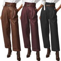 Mode Femme Pantalons en cuir Avec fermeture éclair Simple Loose Jamber Large