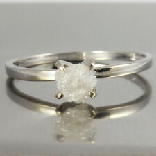 0.55ct uncut white raw Diamond rough diamond Ring 14kt White Gold Solitaire Ring