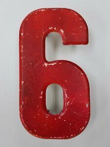 "Vintage 7.5"" Number 6 or 9 Sign Board Metal Orange Rustic Beveled Edge Patina"