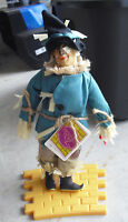"""1987 Presents Hamilton Gifts Wizard of Oz Scarecrow Doll w Brick Stand 15"""" T"""