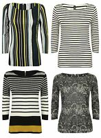 Ex Marks And Spencer Ladies Multi Colour 4 Style Stripe Jersey Top Size 10-22