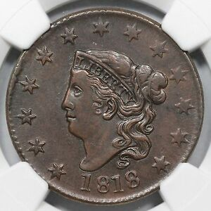 1818 N-1 R-2 NGC XF 45 Rotated Dies Matron or Coronet Head Large Cent Coin 1c