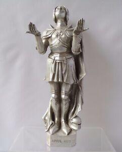 Vintage Joan Of Arc Aluminium ? Metal Figure Statue Letter Opener Stand