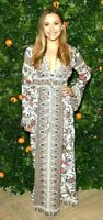 EUC Tory Burch Rosemary Embroidered Crochet Macrame Maxi Long Gown Dress US 0