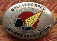 Vintage Gold Wing Road Riders Association Inlay Bikers Belt Buckle