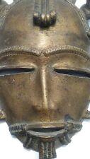 Baule Mask Brass / Bronze Cote D'Ivoire Vintage African wall Art / metal pendant