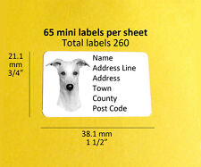 Whippet 260 CUSTOM Dog Address Labels Stickers