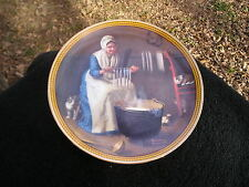 Knowles Norman Rockwell Colonials Light for Winter Woman Making Candles Plate