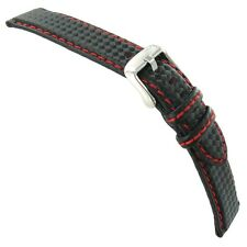 20mm Morellato Black Carbon Fiber Grain Genuine Leather Red Stitching Watch Band