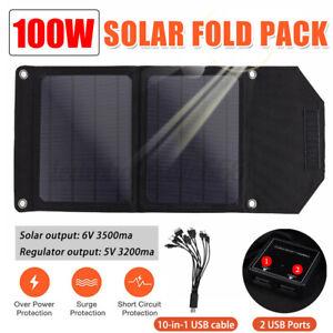 100W Solarpanel Solarzelle Solar Module Faltbar Camping Outdoor mit 10 in 1 USB