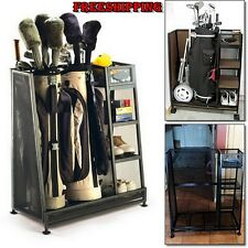 Golf Equipment Bags Double Storage Holder Organizer Clubs Shoes Rack Shelves New