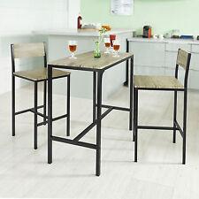 Breakfast Bar Set Stools Table Dining Furniture Kitchen Bistro Restaurant 3Pcs