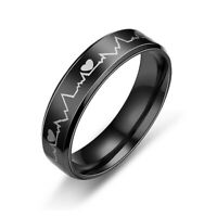 Stainless Steel Black Vintage Heart Beat Electrocardiogram ECG Ring Band Jewelry