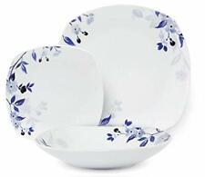 Master Casa Servizio Piatti in Ceramica Quadrato Fiori Blu 18PZ