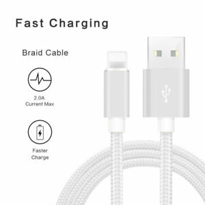 For Apple iPhone 5 6 7 8 X Unbreakable Silver 2 m Fast Charging Cable Charger
