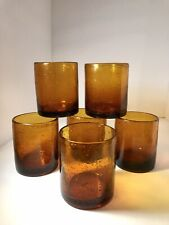 New ListingSet of 6 Mexican Blown Glass Amber Bubble Double High Ball Glasses Retro 1960s