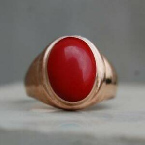 Gorgeous! Oval Cab Red Coral Gemstone 18K Rose Gold Over Men's Signet Ring