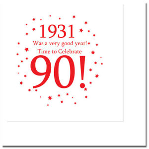 """90th Birthday Party Supplies (Age 90) """"1931"""" LUNCH DESSERT PLATES, NAPKINS, CUPS"""